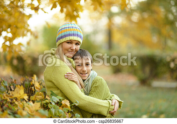 Beautiful mother with her son - csp26835667