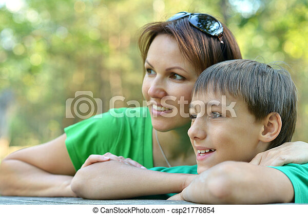 Beautiful mother with son - csp21776854