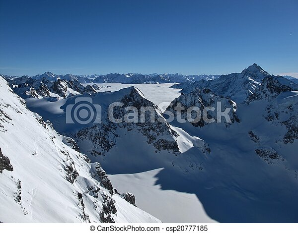 Beautiful mountain landscape in the winter - csp20777185