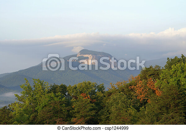 Beautiful mountain scene at the start of fall. - csp1244999
