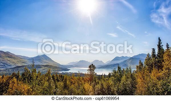 Beautiful Mountain Vista of Autumn on Skilak Lake in Alaska - csp61069954
