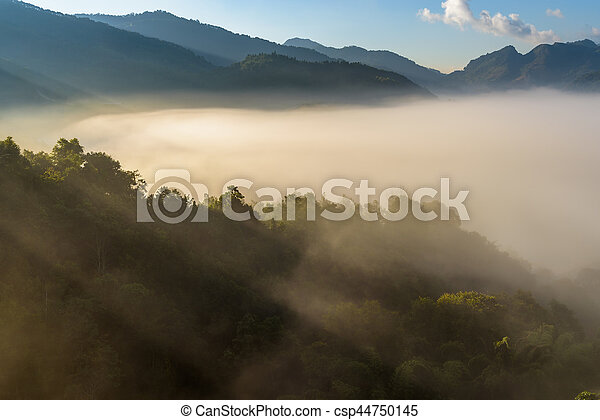 Beautiful Mountain with cloud and mist at sunshine - csp44750145