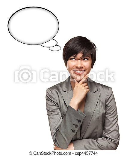 Beautiful Multiethnic Woman with Blank Thought Bubbles Isolated on a White Background - Ready for Your Own Words or Pictures. - csp4457744