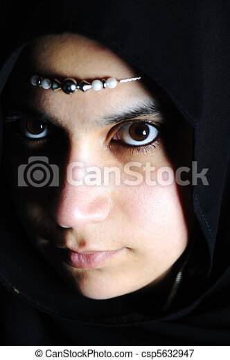beautiful muslim woman - csp5632947