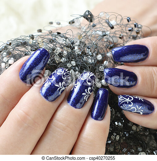 Beautiful Nail Art Female Hands Nails With Beautiful Art Manicure