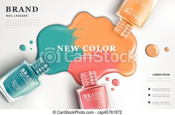 Beautiful Nail Lacquer Ads Top View Of Colorful Nail Polish