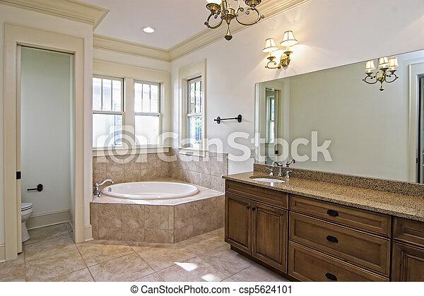 beautiful new construction bathroom - csp5624101