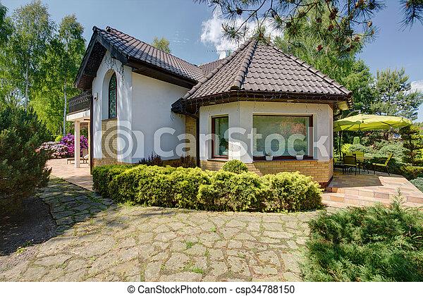 Beautiful new design white villa - csp34788150