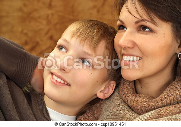 Beautiful nice Caucasian mother with her son - csp10951451