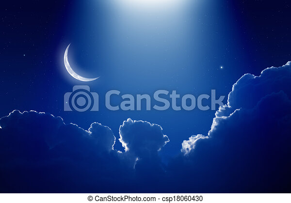 Beautiful Night Peaceful Background Blue Sky With Moon