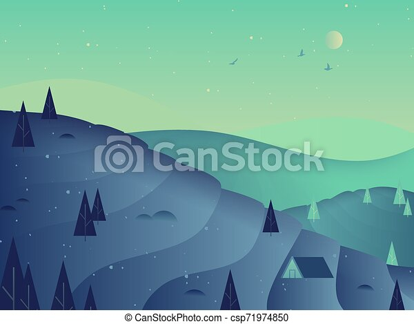 Beautiful night scenery landscape, rice terrace on mountain with tree, blue and green tones - csp71974850