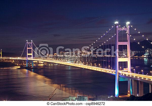 Beautiful night scenes of Tsing Ma Bridge in Hong Kong.  - csp8946272