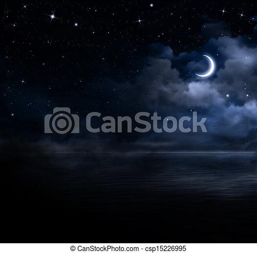 beautiful night sky in the open sea - csp15226995