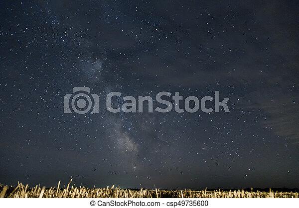 Beautiful night sky with stars. Milky Way over field - csp49735600