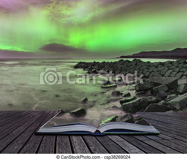 Beautiful Northern Lights Aurora Borealis over coastal landscape - csp38269024