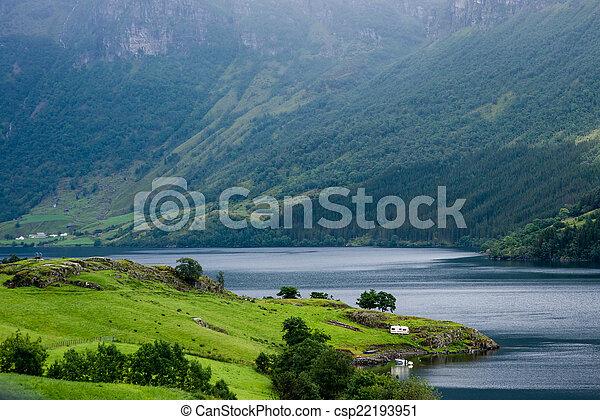 Beautiful Norwegian landscape with water - csp22193951