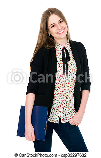 Beautiful office young smiling woman with a tablet - csp33297632