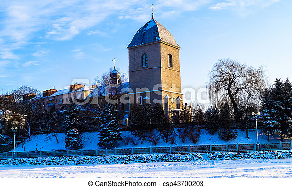 beautiful old Church on the background of blue sky in winter - csp43700203