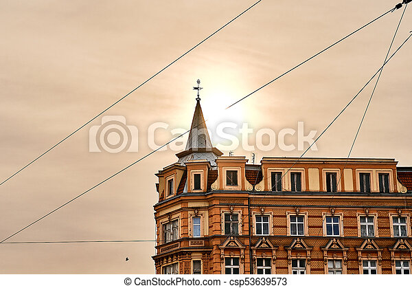 Beautiful old house in the center of Wroclaw in the morning sun light - csp53639573