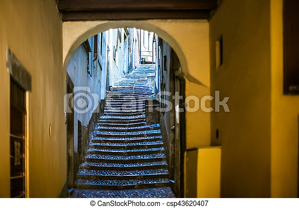 Beautiful Old Narrow Stairs And Arch On Italy Street Travel Background
