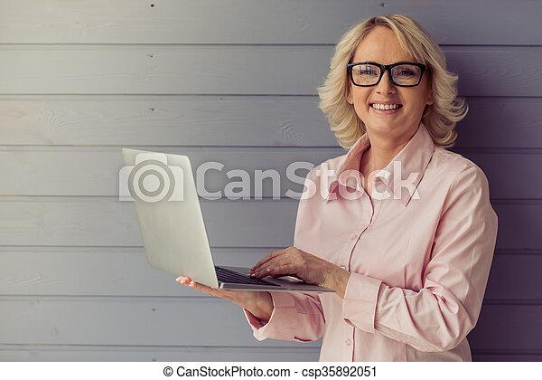 Beautiful old woman - csp35892051