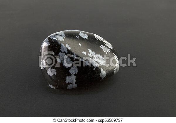 Beautiful one stone snowflake obsidian volcanic glass - csp56589737
