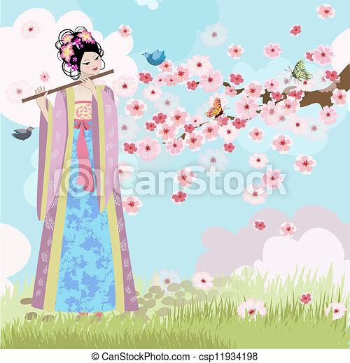 Beautiful Oriental girl near cherry blossoms - csp11934198