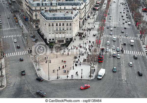 beautiful panorama from Arc de Triomphe, Champs-Elysees at winter in Paris, France - csp9138464
