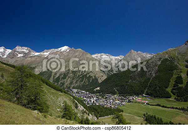Beautiful panorama of the mountains in Saas Fee - csp86805412