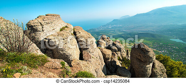 beautiful panorama of the mountains - csp14235084