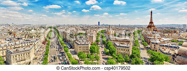 Beautiful panoramic view of Paris from the roof of the Triumphal Arch. Champs Elysees and the Eiffel Tower. - csp40179502