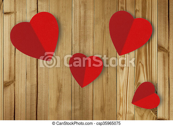 Beautiful paper hearts on wooden background - csp35965075