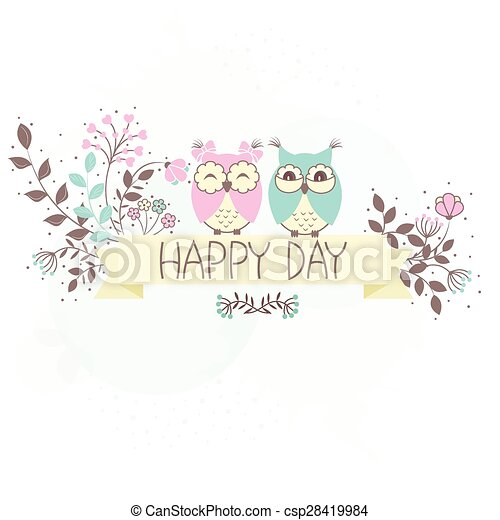 Beautiful pattern card with owls - csp28419984