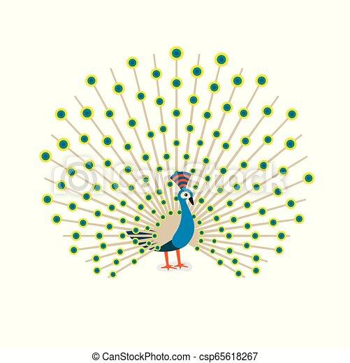 Beautiful peacock cartoon flat drawing to color. Vector illustration - csp65618267