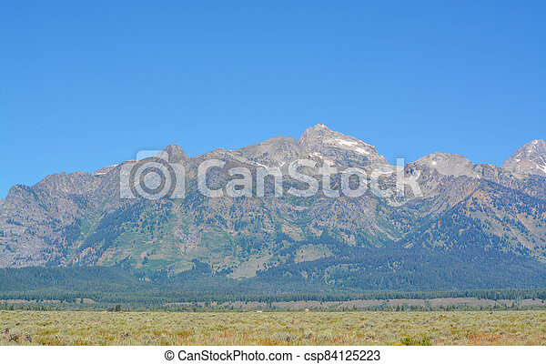 Beautiful Peaks of the Teton mountains in the Grand Teton National Park in Wyoming - csp84125223