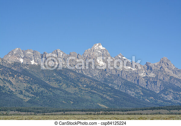 Beautiful Peaks of the Teton mountains in the Grand Teton National Park in Wyoming - csp84125224