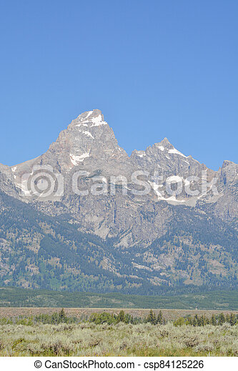 Beautiful Peaks of the Teton mountains in the Grand Teton National Park in Wyoming - csp84125226
