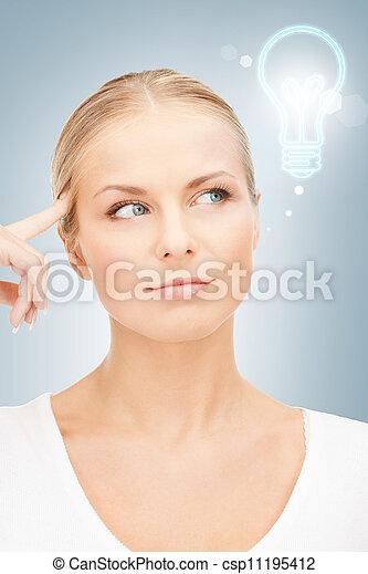beautiful pensive woman - csp11195412