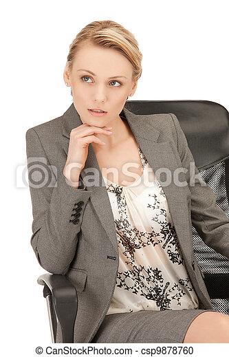 beautiful pensive woman - csp9878760