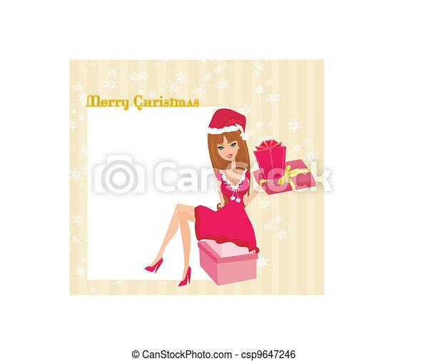 beautiful pin-up girl in Christmas  - csp9647246