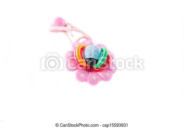Beautiful pink barrettes isolated on white background - csp15593931