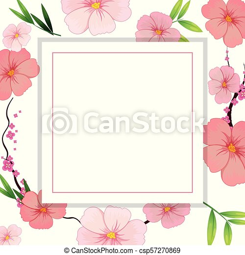 Beautiful Pink Hibiscus Flower Template Illustration