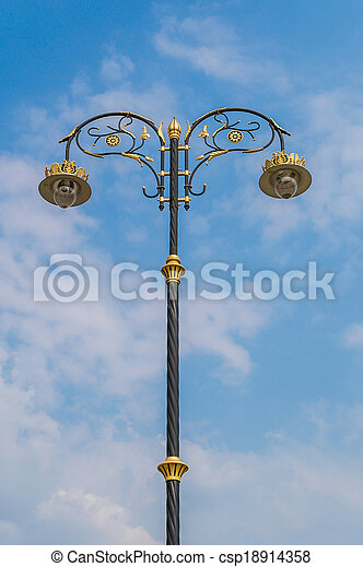 Beautiful poles on a background of the blue sky. - csp18914358