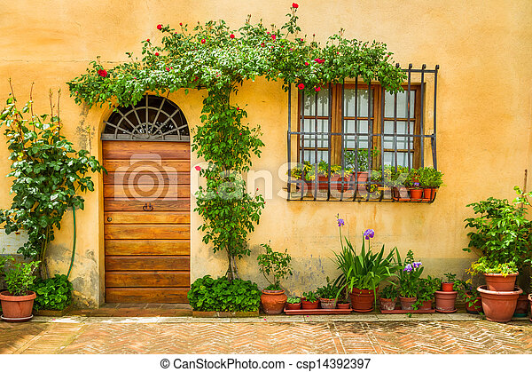 Beautiful porch decorated with flowers in italy - csp14392397