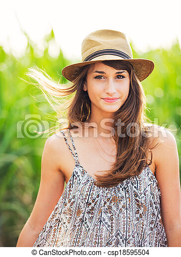 Beautiful portrait of a carefree happy girl - csp18595504
