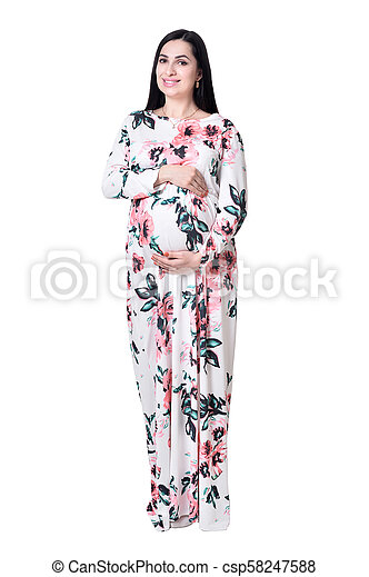 972e9c5d21c54 Beautiful pregnant woman in dress posing isolated on white background.