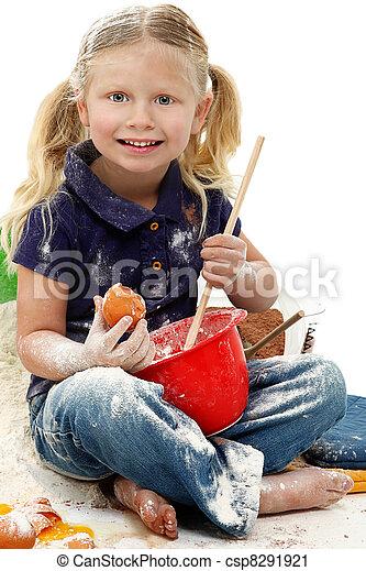 Beautiful Preschool Girl Child Baking Mess - csp8291921