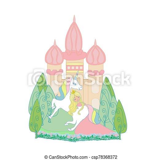 beautiful princess and cute unicorn - csp78368372