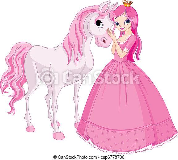 Beautiful princess and horse - csp6778706