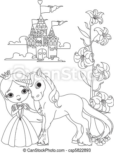 Beautiful princess and unicorn col - csp5822893